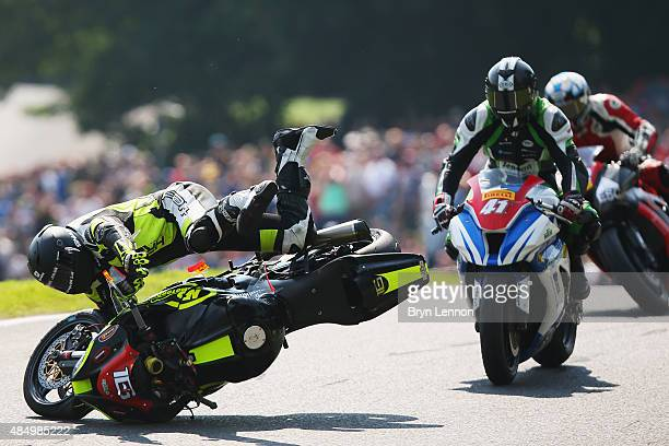 Ben Godfrey of Great Britain and BPG Racing crashes out of the Pirelli National Superstock 1000 Championship race during the MCE British Superbike...
