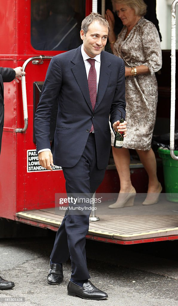 <a gi-track='captionPersonalityLinkClicked' href=/galleries/search?phrase=Ben+Goldsmith&family=editorial&specificpeople=745555 ng-click='$event.stopPropagation()'>Ben Goldsmith</a> arrives at Claridges Hotel, on a Routemaster bus, to attend the wedding reception for Alexander Fellowes and Alexandra Finlay following their wedding ceremony at the Chapel of St Mary Undercroft in the Palace of Westminster on September 20, 2013 in London, England.
