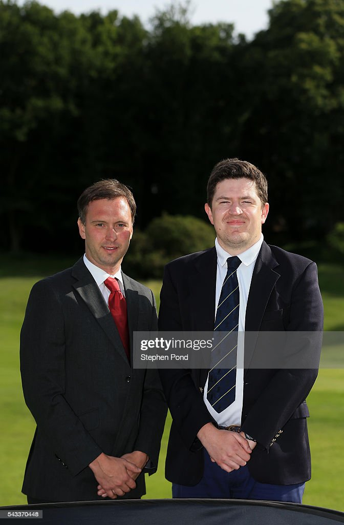 Ben Goodey and Robert Jones of Manor of Groves Golf Club pose for a photograph after winning during the PGA Fourball Qualifier at Ashridge Golf Club on June 27, 2016 in Ashridge, England.