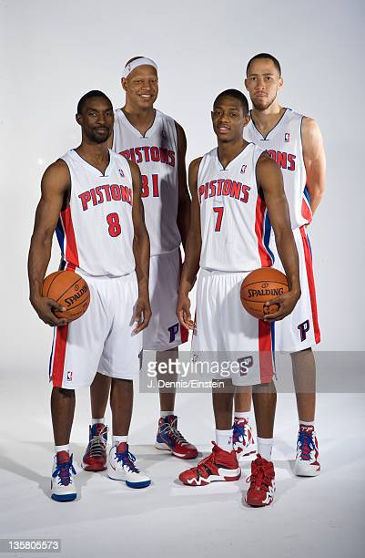 Ben Gordon Charlie Villanueva Brandon Knight and Tayshaun Prince of the Detroit Pistons pose for a photo during the Detroit Pistons media day at The...