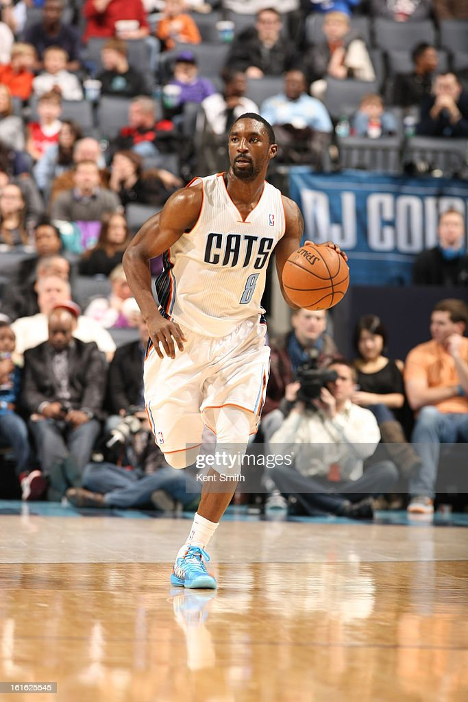 <a gi-track='captionPersonalityLinkClicked' href=/galleries/search?phrase=Ben+Gordon&family=editorial&specificpeople=202181 ng-click='$event.stopPropagation()'>Ben Gordon</a> #8 of the Charlotte Bobcats brings the ball up court against the Sacramento Kings at the Time Warner Cable Arena on January 19, 2013 in Charlotte, North Carolina.