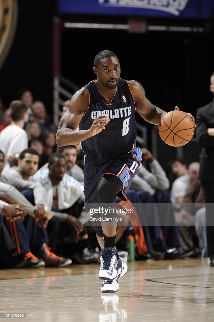 Ben Gordon #8 of the Charlotte Bobcats dribbles the ball up the court against the Cleveland Cavaliers at The Quicken Loans Arena on February 6, 2013 in Cleveland, Ohio.