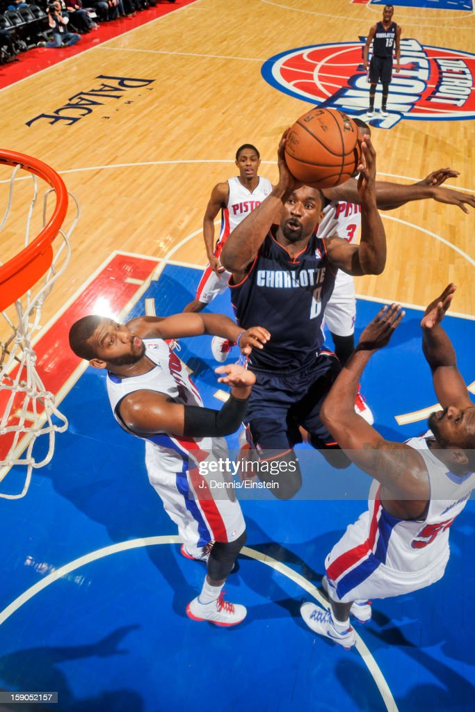 <a gi-track='captionPersonalityLinkClicked' href=/galleries/search?phrase=Ben+Gordon&family=editorial&specificpeople=202181 ng-click='$event.stopPropagation()'>Ben Gordon</a> #8 of the Charlotte Bobcats drives to the basket against <a gi-track='captionPersonalityLinkClicked' href=/galleries/search?phrase=Greg+Monroe&family=editorial&specificpeople=5042440 ng-click='$event.stopPropagation()'>Greg Monroe</a> #10 and <a gi-track='captionPersonalityLinkClicked' href=/galleries/search?phrase=Jason+Maxiell&family=editorial&specificpeople=651723 ng-click='$event.stopPropagation()'>Jason Maxiell</a> #54 of the Detroit Pistons on January 6, 2013 at The Palace of Auburn Hills in Auburn Hills, Michigan.