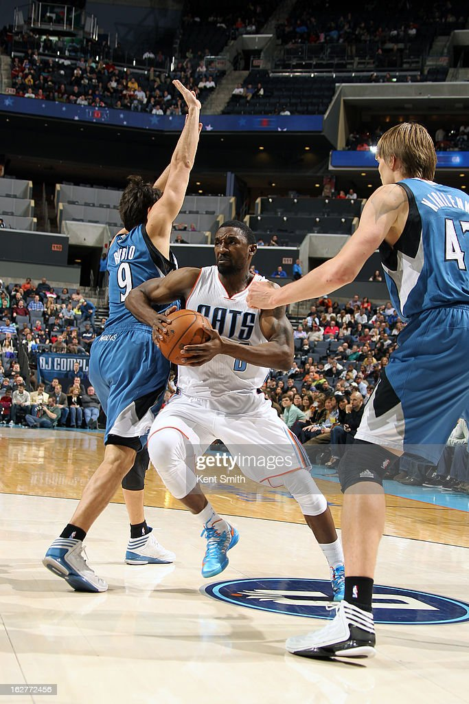Ben Gordon #8 of the Charlotte Bobcats drives to the basket against the Minnesota Timberwolves at the Time Warner Cable Arena on January 26, 2013 in Charlotte, North Carolina.