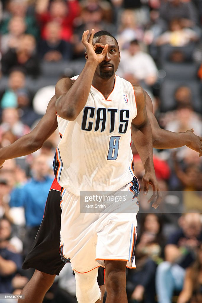 <a gi-track='captionPersonalityLinkClicked' href=/galleries/search?phrase=Ben+Gordon&family=editorial&specificpeople=202181 ng-click='$event.stopPropagation()'>Ben Gordon</a> #8 of the Charlotte Bobcats hits the three-pointer against the Toronto Raptors at the Time Warner Cable Arena on November 21, 2012 in Charlotte, North Carolina.