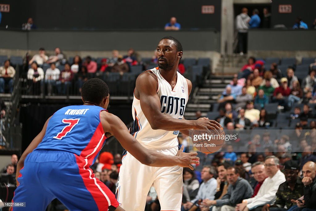 Ben Gordon #8 of the Charlotte Bobcats looks to pass the ball against Brandon Knight #7 of the Detroit Pistons at the Time Warner Cable Arena on February 20, 2013 in Charlotte, North Carolina.