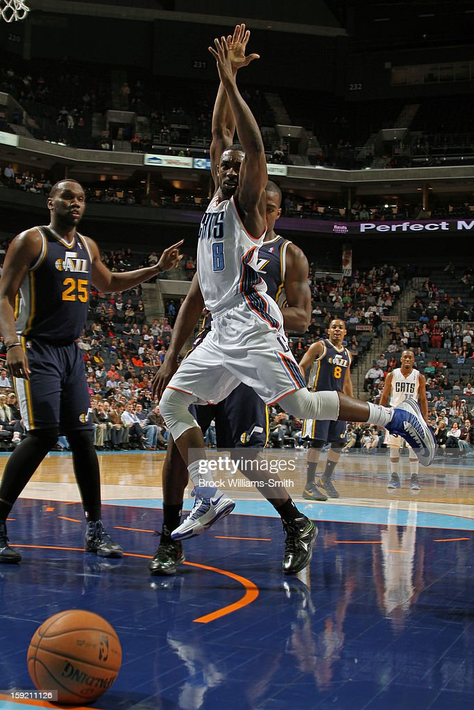Ben Gordon #8 of the Charlotte Bobcats looses the ball while driving to the basket against the Utah Jazz at the Time Warner Cable Arena on January 9, 2013 in Charlotte, North Carolina.