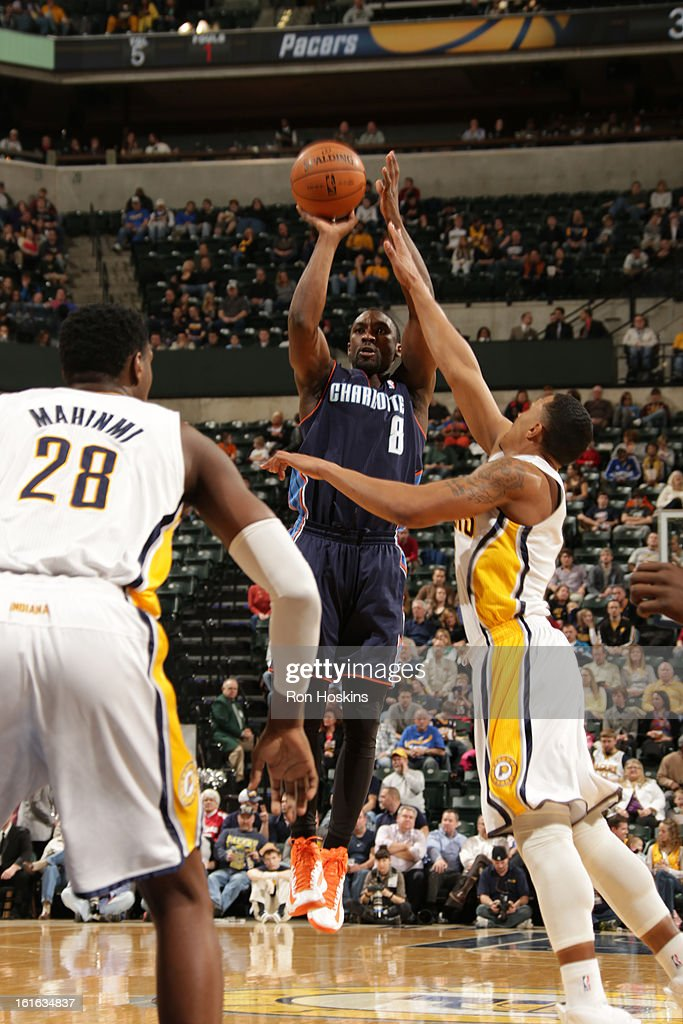 Ben Gordon #8 of the Charlotte Bobcats shoots a jumper against the Indiana Pacers on February 13, 2013 at Bankers Life Fieldhouse in Indianapolis, Indiana.