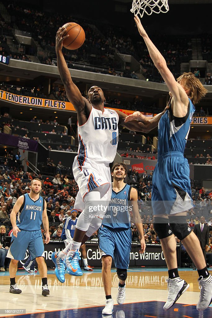 Ben Gordon #8 of the Charlotte Bobcats shoots against the Minnesota Timberwolves at the Time Warner Cable Arena on January 26, 2013 in Charlotte, North Carolina.