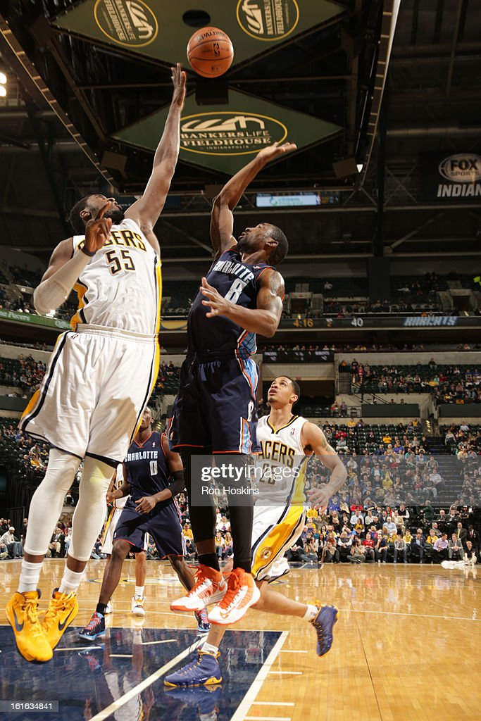 Ben Gordon #8 of the Charlotte Bobcats shoots over Roy Hibbert #55 of the Indiana Pacers on February 13, 2013 at Bankers Life Fieldhouse in Indianapolis, Indiana.