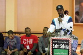 Ben Gordon of the Charlotte Bobcats speaks to participants prior to the 2013 Chicago Peace Basketball Tournament on September 21 2013 at the St...