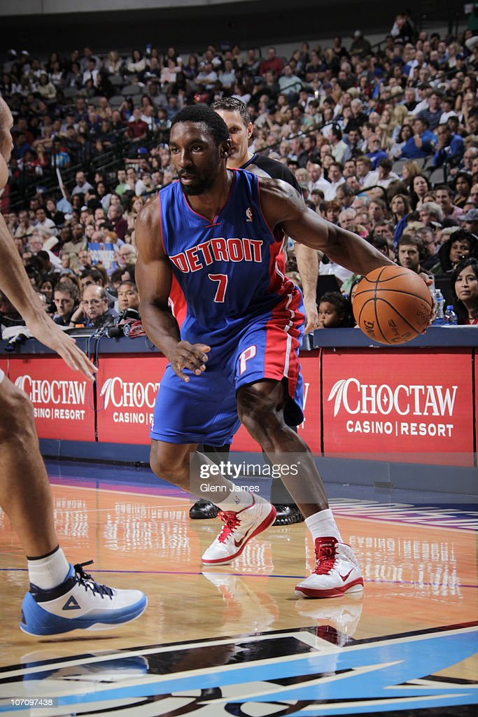 <a gi-track='captionPersonalityLinkClicked' href=/galleries/search?phrase=Ben+Gordon&family=editorial&specificpeople=202181 ng-click='$event.stopPropagation()'>Ben Gordon</a> #7 of the Detroit Pistons drives against <a gi-track='captionPersonalityLinkClicked' href=/galleries/search?phrase=Jason+Kidd&family=editorial&specificpeople=201560 ng-click='$event.stopPropagation()'>Jason Kidd</a> #2 of the Dallas Mavericks during a game on November 23, 2010 at the American Airlines Center in Dallas, Texas.