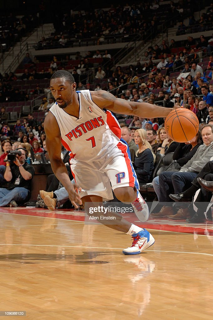 <a gi-track='captionPersonalityLinkClicked' href=/galleries/search?phrase=Ben+Gordon&family=editorial&specificpeople=202181 ng-click='$event.stopPropagation()'>Ben Gordon</a> #7 of the Detroit Pistons drives against the Portland Trail Blazers on February 13, 2011 at The Palace of Auburn Hills in Auburn Hills, Michigan.