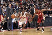 Ben Gordon of the Detroit Pistons drives to the basket against Daniel Gibson of the Cleveland Cavaliers during the game at the Palace of Auburn Hills...