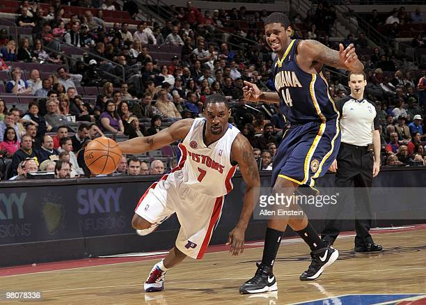 Ben Gordon of the Detroit Pistons drives to the basket against Solomon Jones of the Indiana Pacers during the game at the Palace of Auburn Hills on...