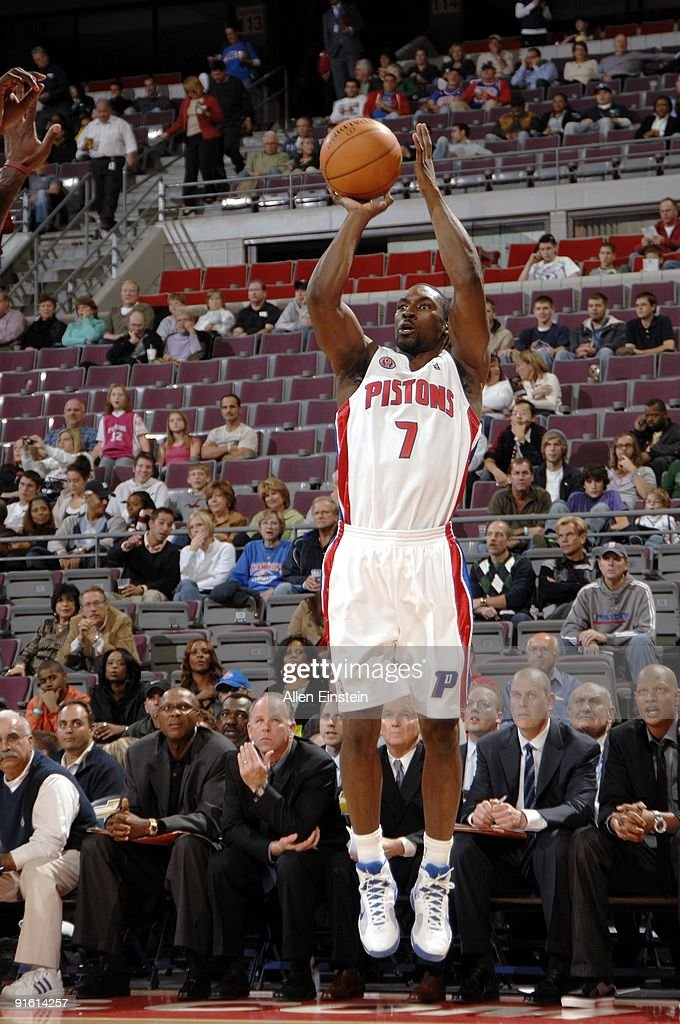 Ben Gordon of the Detroit Pistons shoots a jump shot during the preseason game against the Miami Heat at the Palace of Auburn Hills on October 5 2009...