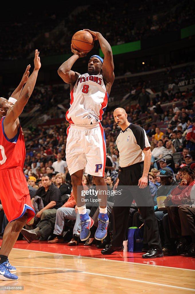 Ben Gordon of the Detroit Pistons shoots a jumper during the game between the Detroit Pistons and the Philadelphia 76ers on April 26 2012 at The...