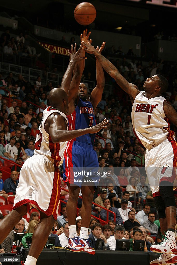 Ben Gordon of the Detroit Pistons shoots against the Miami Heat on April 9 2010 at American Airlines Arena in Miami Florida NOTE TO USER User...