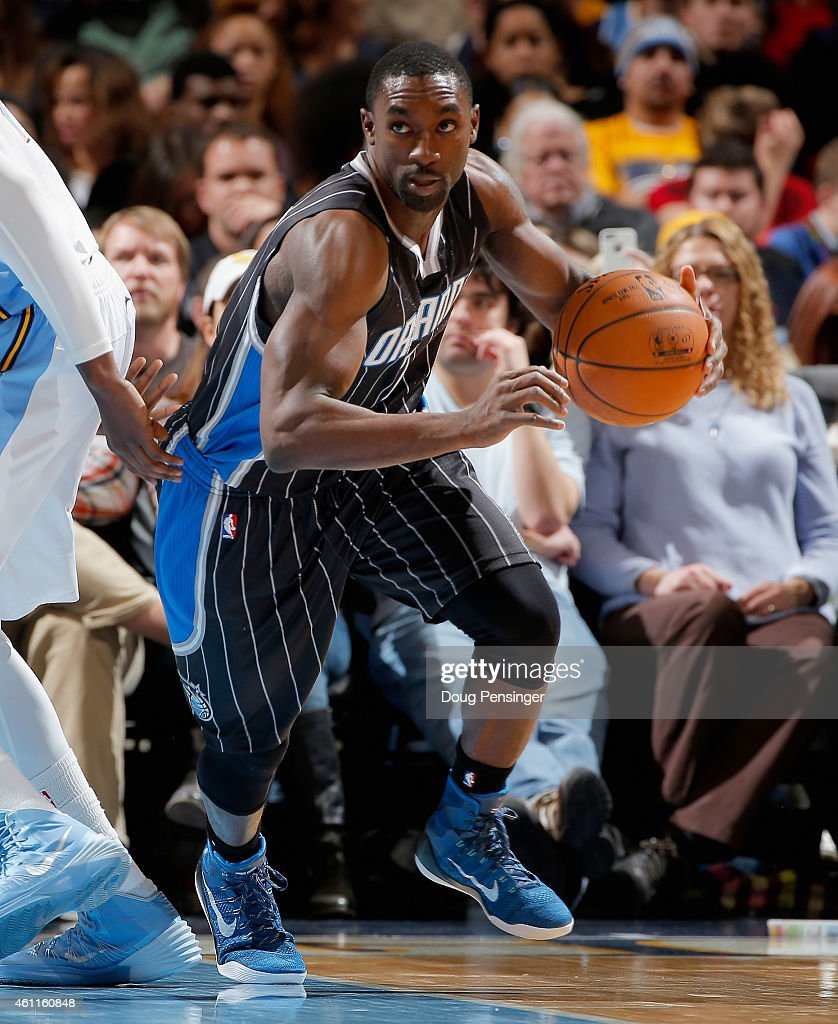 Ben Gordon of the Orlando Magic controls the ball against the Denver Nuggets at Pepsi Center on January 7 2015 in Denver Colorado The Nuggets...