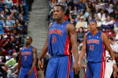 Ben Gordon Rodney Stuckey and Charlie Villanueva of the Detroit Pistons walk on the court during the game against the Sacramento Kings on February 23...