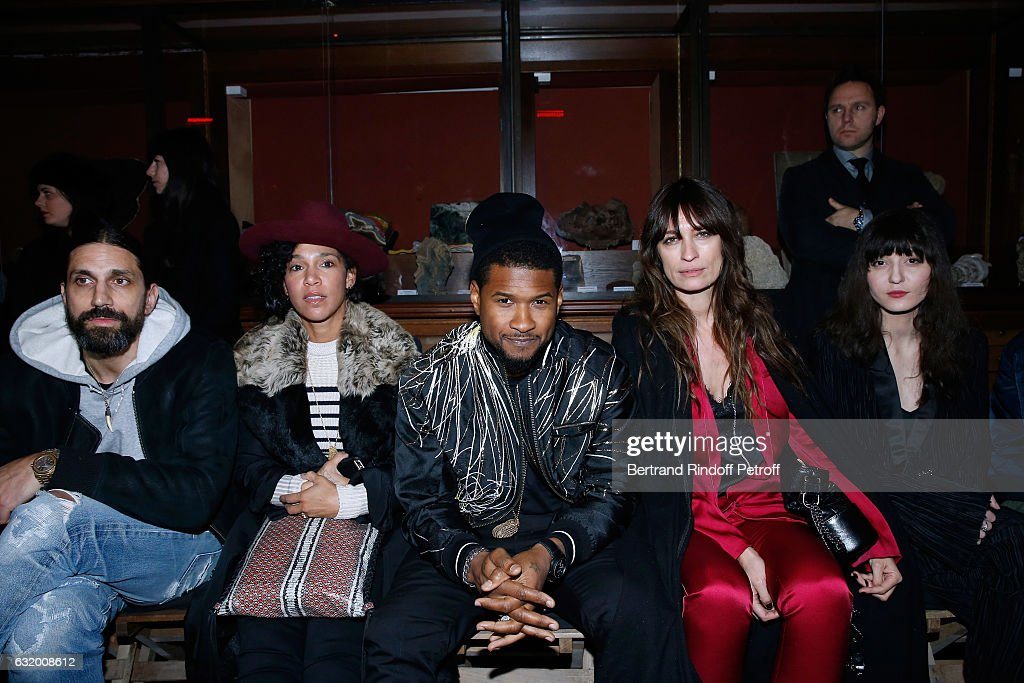 Ben Gorham, Usher with his wife Grace Miguel, Caroline de Maigret and Irina Lazareanu attend the Haider Ackermann Menswear Fall/Winter 2017-2018 show as part of Paris Fashion Week. Held at Galerie de la Mineralogie on January 18, 2017 in Paris, France.