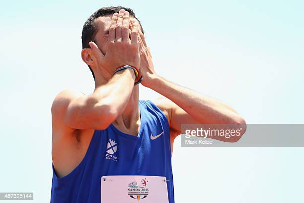 Ben Greenwood of Scotland reacts after winning the bronze medal in the boys 800m final during the athletics competition at the Apia Park Sports...