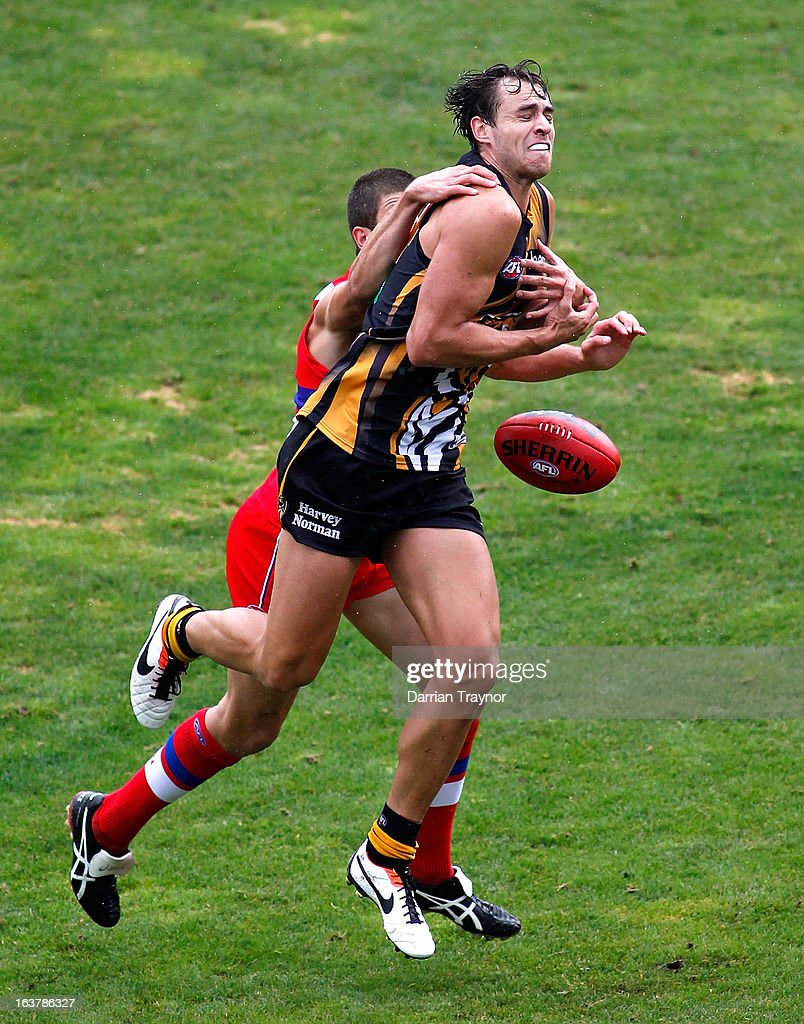Ben Griffiths of the Tigers attempts to mark the ball during the AFL practice match between the Richmond Tigers and the Western Bulldogs at Visy Park on March 16, 2013 in Melbourne, Australia.
