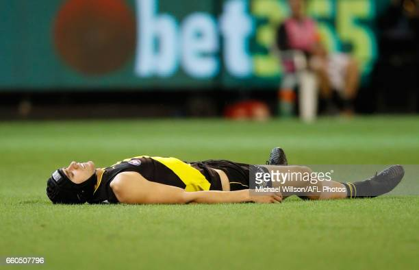 Ben Griffiths of the Tigers lays injured during the 2017 AFL round 02 match between the Richmond Tigers and the Collingwood Magpies at the Melbourne...