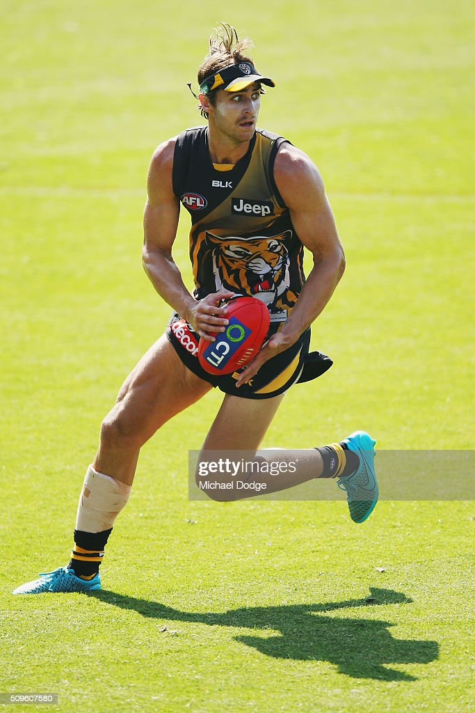 Ben Griffiths of the Tigers looks upfield during the Richmond Tigers AFL intra-club match at Punt Road Oval on February 12, 2016 in Melbourne, Australia.