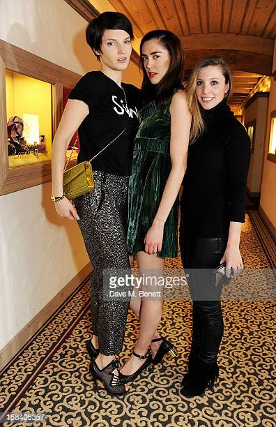 Ben Grimes Rosa Connell and Kerry Pieri attend the ASMALLWORLD Gala Dinner for the Alzheimer's Society at The Gstaad Palace Hotel on December 15 2012...