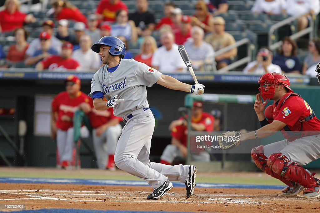 Ben Guez #24 of Team Israel bats against Team Spain during game 6 of the Qualifying Round of the World Baseball Classic at Roger Dean Stadium on September 23, 2012 in Jupiter, Florida.