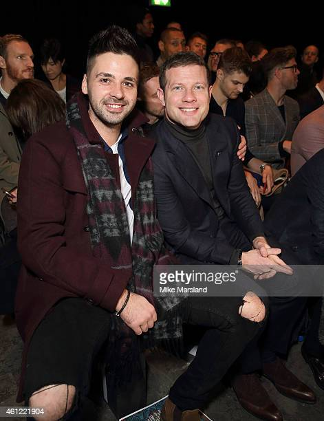 Ben Haenow and Dermot O'Leary attend the TOPMAN show at the London Collections Men AW15 at on January 9 2015 in London England