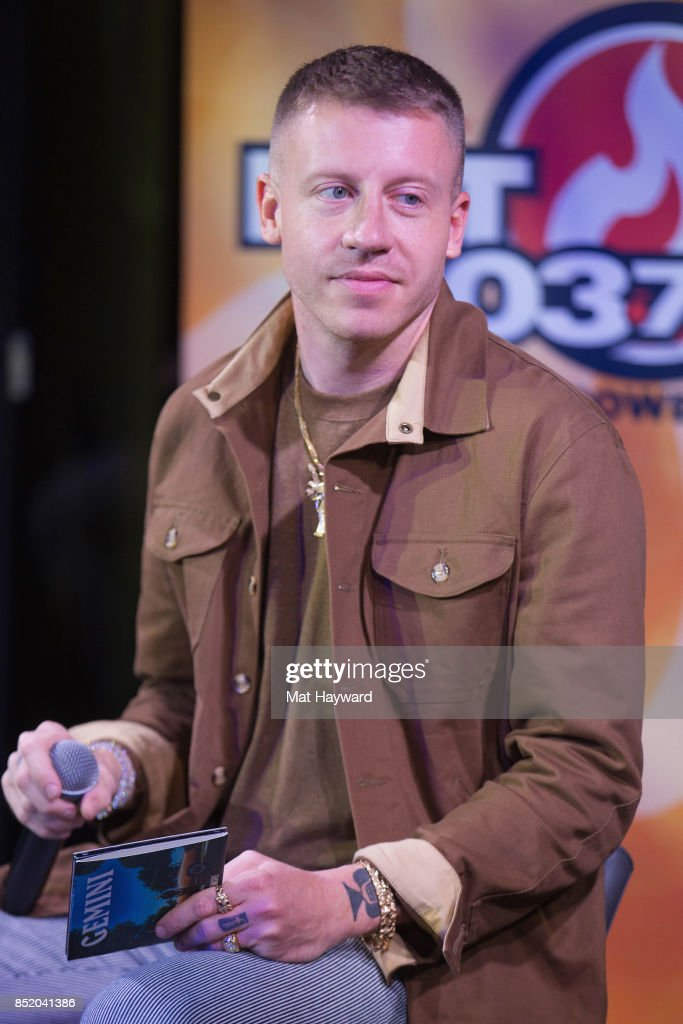 Ben Haggerty aka Macklemore gives an interview at Hot 103.7 while promoting his newly released solo album 'Gemini' on September 22, 2017 in Seattle, Washington.