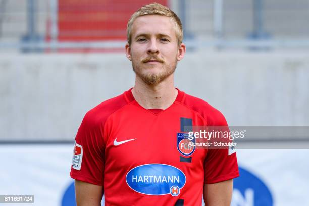 Ben Halloran of 1 FC Heidenheim poses during the team presentation at Voith Arena on July 8 2017 in Heidenheim Germany