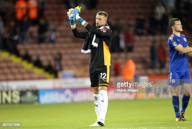 Ben Hamer of Leicester City applauds the travelling fans after the Carabao Cup Second Round tie between Sheffield United and Leicester City at...