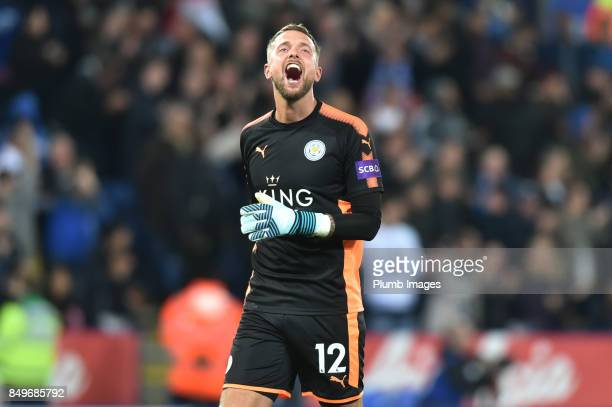 Ben Hamer of Leicester City celebrates after Islam Slimani of Leicester City scores to make it 20 during the Carabao Cup third round match between...