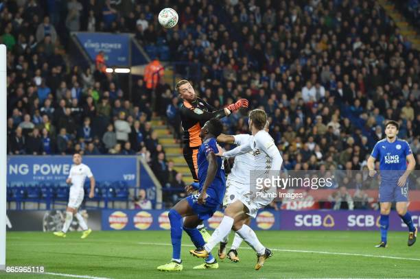 Ben Hamer of Leicester City clears the ball during the Carabao Cup fourth round match between Leicester City and Leeds United at The King Power...