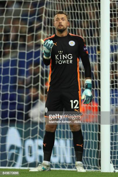 Ben Hamer of Leicester City gestures during the Carabao Cup third round match between Leicester City and Liverpool at The King Power Stadium on...