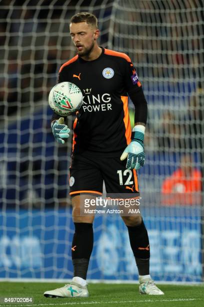Ben Hamer of Leicester City in action the Carabao Cup third round match between Leicester City and Liverpool at The King Power Stadium on September...