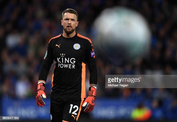 Ben Hamer of Leicester City looks on during the Caraboa Cup Fourth Round match between Leicester City and Leeds United at The King Power Stadium on...