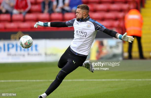 Ben Hamer of Leicester City warms up at Bramall Lane ahead of the Carabao Cup Second Round tie between Sheffield United and Leicester City at Bramall...