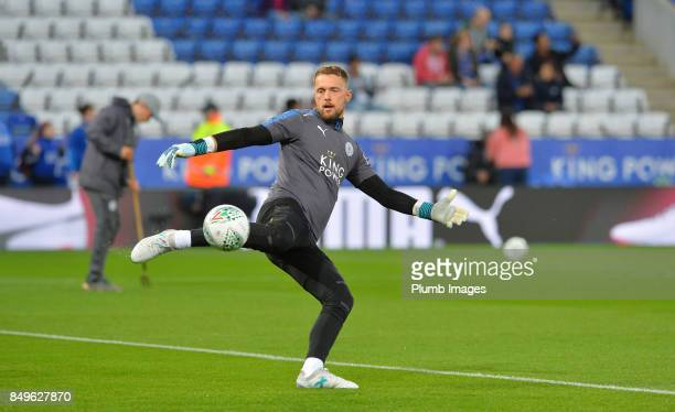 Ben Hamer of Leicester City warms up at King Power Stadium ahead of the Carabao Cup third round match between Leicester City and Liverpool at King...
