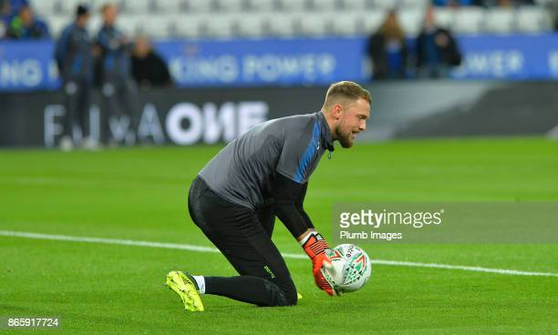 Ben Hamer of Leicester City warms up at King Power Stadium ahead of the Carabao Cup match between Leicester City and Leeds United at King Power...