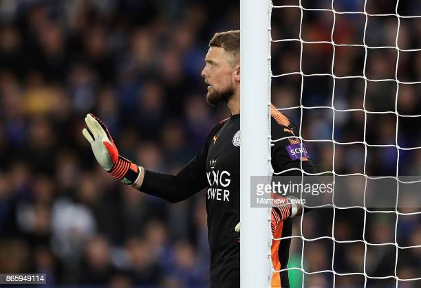 Ben Hamer of Leicester in action during the Carabao Cup Fourth Round match between Leicester City and Leeds United at The King Power Stadium on...
