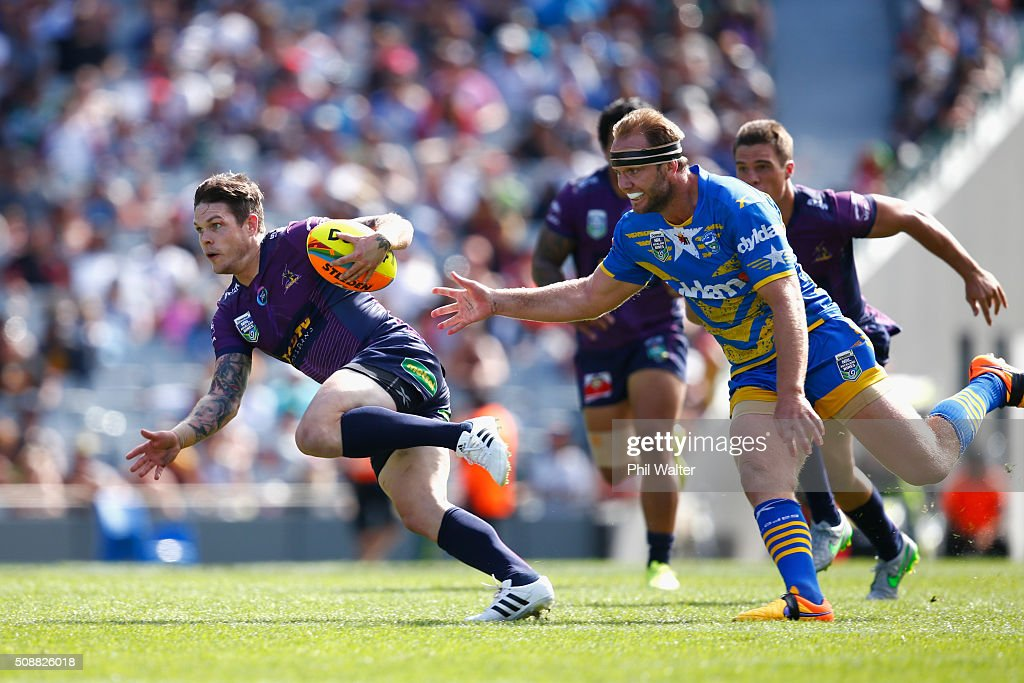 Ben Hampton of the Storm breaks away during the 2016 Auckland Nines semifinal match between the Storm and the Eels at Eden Park on February 7, 2016 in Auckland, New Zealand.