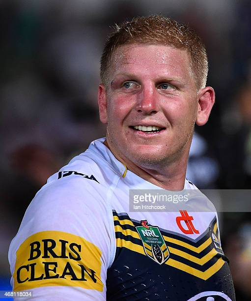 Ben Hannant of the Cowboys smiles after winning the round four NRL match between the North Queensland Cowboys and the Melbourne Storm at 1300SMILES...