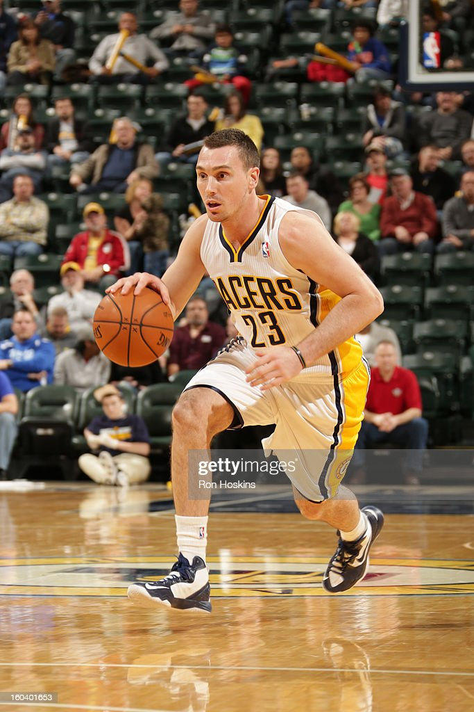 <a gi-track='captionPersonalityLinkClicked' href=/galleries/search?phrase=Ben+Hansbrough&family=editorial&specificpeople=4186465 ng-click='$event.stopPropagation()'>Ben Hansbrough</a> #23 of the Indiana Pacers drives up-court against the Detroit Pistons on January 30, 2013 at Bankers Life Fieldhouse in Indianapolis, Indiana.