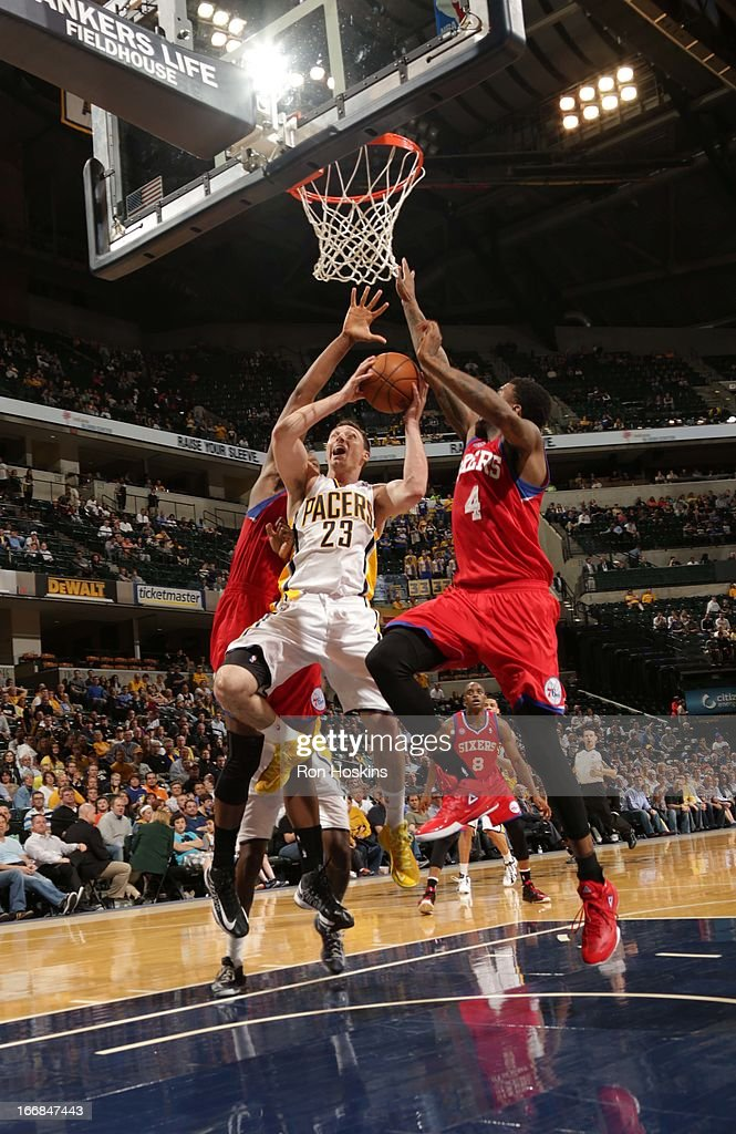 <a gi-track='captionPersonalityLinkClicked' href=/galleries/search?phrase=Ben+Hansbrough&family=editorial&specificpeople=4186465 ng-click='$event.stopPropagation()'>Ben Hansbrough</a> #23 of the Indiana Pacers goes to the basket during the game between the Indiana Pacers and the Philadelphia 76ers on April 17, 2013 at Bankers Life Fieldhouse in Indianapolis, Indiana.