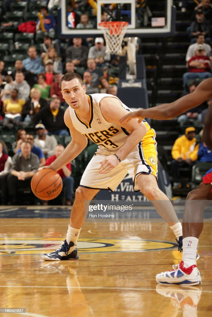 <a gi-track='captionPersonalityLinkClicked' href=/galleries/search?phrase=Ben+Hansbrough&family=editorial&specificpeople=4186465 ng-click='$event.stopPropagation()'>Ben Hansbrough</a> #23 of the Indiana Pacers handles the ball against the Detroit Pistons on January 30, 2013 at Bankers Life Fieldhouse in Indianapolis, Indiana.