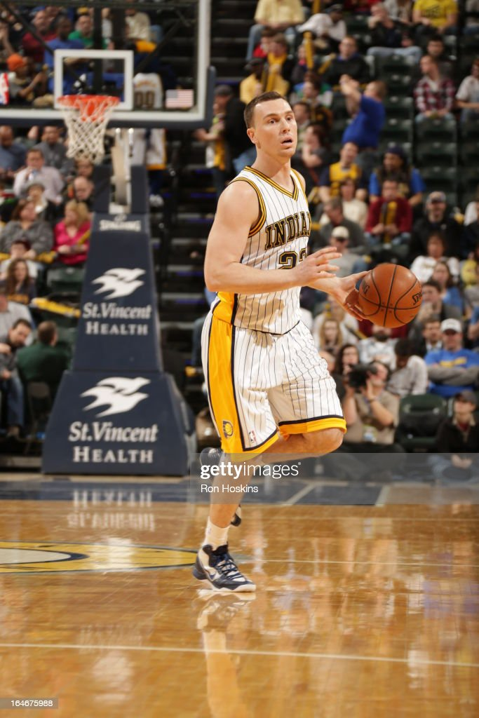 Ben Hansbrough #23 of the Indiana Pacers handles the ball against the Atlanta Hawks on March 25, 2013 at Bankers Life Fieldhouse in Indianapolis, Indiana.